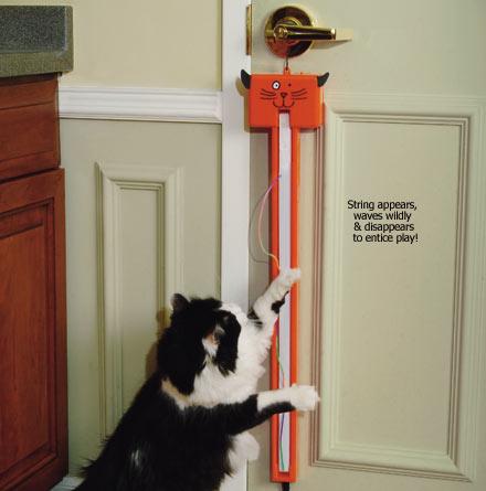 Для более пушистых и хитрых созданий - кошек изобретатели приготовили отличный автоматизированный шнурок Fling-ama-String