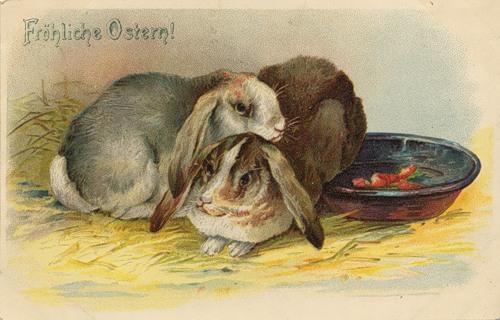 Старинные пасхальные открытки. Пасхальный заяц